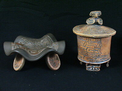 Rare Mexico Aztec / Mayan / INAH Art Pottery Footed Tray and Jar with Lid Rustic