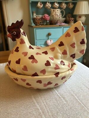 Emma Bridgewater Pink Hearts Hen On Nest