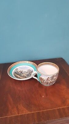 19 C Victorian Prattware Pottery Cup and Saucer  F.&R.Pratt of Fenton.