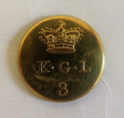 3rd Line Battalion, The King's German Legion Officer's Coatee Button.