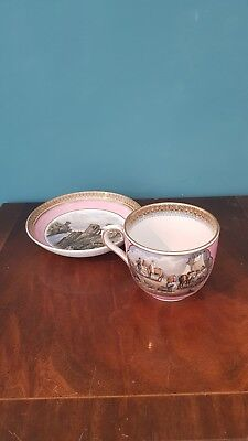 19 C Victorian Prattware Pottery Cup and Saucer F.&R.Pratt of Fenton. Pink