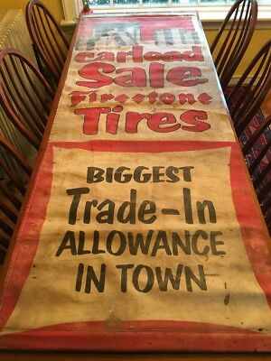Rare Large Vintage 7.5 Ft Cloth Firestone Dealer Advertising '53 Display Banner