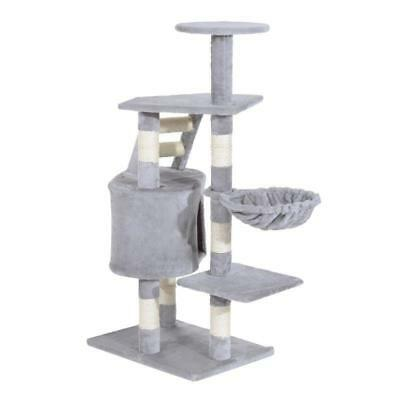 125Cm Scratching Cat Tree Kitten Bed Pawhut Deluxe Play Tower House Toy Grey NEW