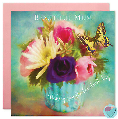 Mum Birthday Mummy Mam Vintage Florals Butterfly Shabby Chic by Juniperlove