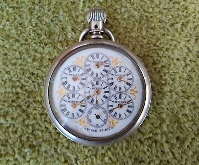 Rare Amazing World Time Zones Captains Pocket Watch 6 Complications Depose 4975