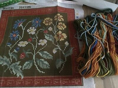 "NEEDLEPOINT CROSS STITCH KIT  14"" x14"" PRINTED CANVAS WOOL FLORAL NEW WOOL BNWOT"