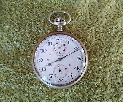 Fantastic Zenith Alarm Pocket Watch Porcelain Dial Swiss