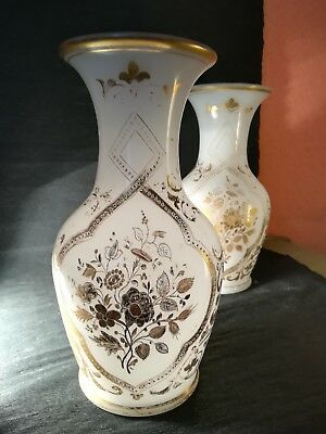 "paire de vases en opaline  "" savonneuse "" époque Second Empire"
