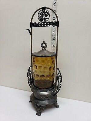 SIMPSON HALL Miller CO. SILVERPLATE PICKLE CASTOR WITH AMBER glass