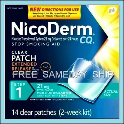 FREE_SAMEDAY_SHIP Nicoderm CQ Step-1 JAN 2020 (2-Week 14 Nicotine Patches 21mg)