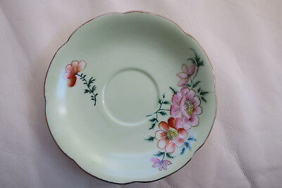 Vintage Trimont China Saucer Made Occupied Japan Pink Flowers/pale Green/gold
