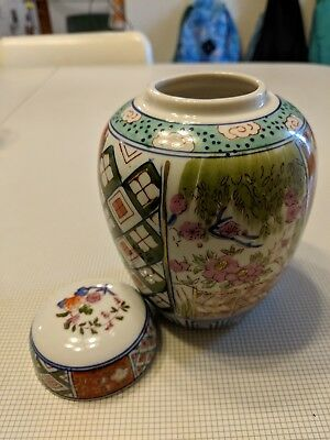 Vase Pottery With Lid Made In Japan Vintagae