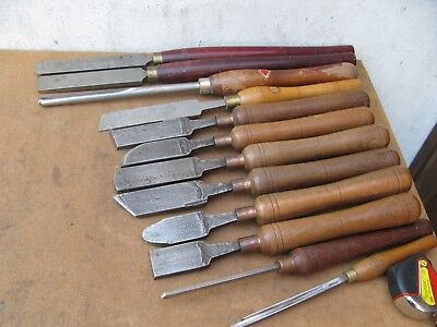 12 Wood Turning Chisels Mixed Makers  Sizes