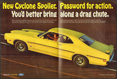 1970 Mercury ad yellow Mercury Cyclone Spoiler 370 HP CJ 429 V-8