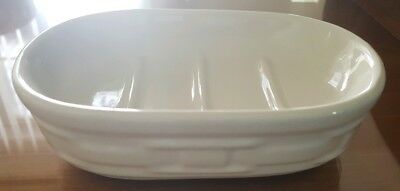Longaberger IVORY SOAP DISH POTTERY  Woven Tradition USA - RARE