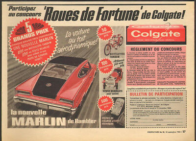 1965 Canadian Colgate ad Win a Rambler Marlin French text