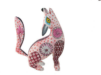 PINK COYOTE FIGURINE, Oaxacan Wood Carving, Alebrije, signed by artist. 9-inch