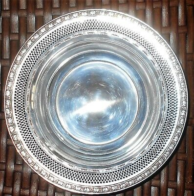"""Vintage English Sterling Silver Reticulated Nut Dish / Bowl 75.4 Grams """" A55"""""""