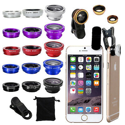 Wide Angle Fish Eye Macro Camera Lens Universal 3in1 Clip On For i Phone Samsung