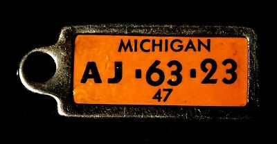 Vintage 1947 Michigan Miniature License Plate Style Tag Key Fob Early DAV