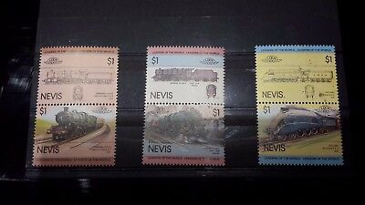 NEVIS 1983 Leaders of the World: Railway Locomotives. Set of 6 MNH.