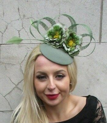 Khaki Sage Willow Green Flower Feather Hat Hair Fascinator Floral Races 6834
