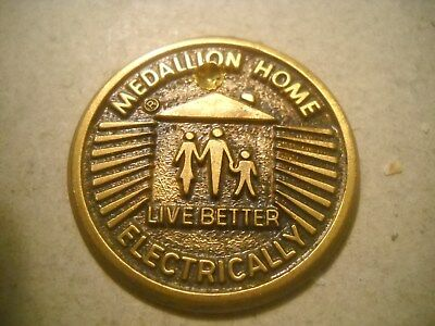 Vintage  RARE 1960's Medallion Home Live Better Electrically Brass  MEDAL TOKEN