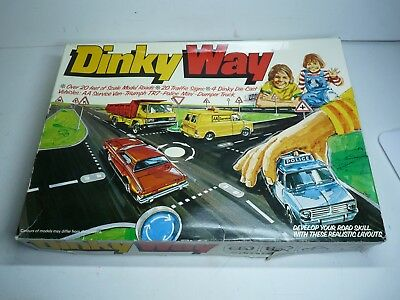 Very Rare Dinky Way 240 Layout Set - 1978 by Meccano, TVR, Mini, AA Van, Tipper