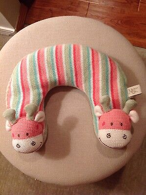 Maison Chic Striped Pink/Green Giraffe Baby Travel Headrest Pillow