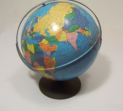 Ohio Art World Map Globe with Stand Metal 17 in. Rotating Vintage