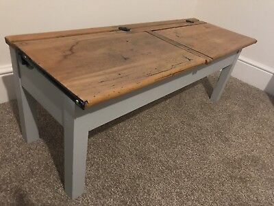 Vintage Antique Traditional Double Wooden School Desk