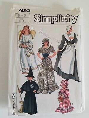 UNCUT Simplicity Vintage 1986 sewing pattern 7650  6-8Misses and Girls costume
