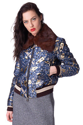 FRANKIE MORELLO Bomber Jacket Size S Cosmos Rabbit Fur Made in Italy RRP €979