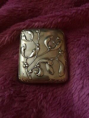 Charles Murat c1900 antique silver cigarette case mistletoe french art nouveau