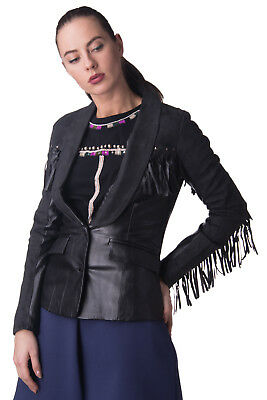 TAG-T Blazer Jacket Size S Black PU Leather Contrast Suede Effect Fringe Trim