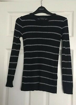 Lovely Topshop Maternity Black Striped Knitted Top Size Uk 8