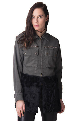 HISTORY REPEATS Military Denim Jacket Size 42 / M Fur Hem Made in Italy RRP €890