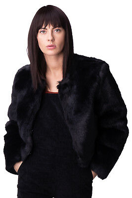 ATELIER FIXDESIGN Eco Fur Coat Size IT 46 / L Black Hook Front Crew Neck