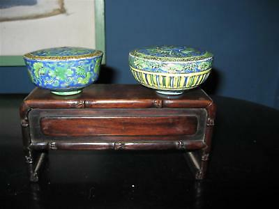 Rare Pair Antique Chinese Opium Damper Bowls Glazed 1820 Museum On Bench