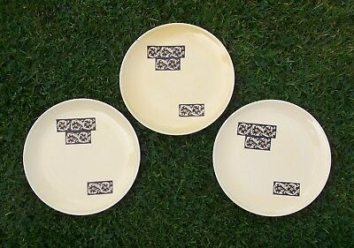 3 Vintage 60s Carltonware TAPESTRY plates 8 ins Yellow brown