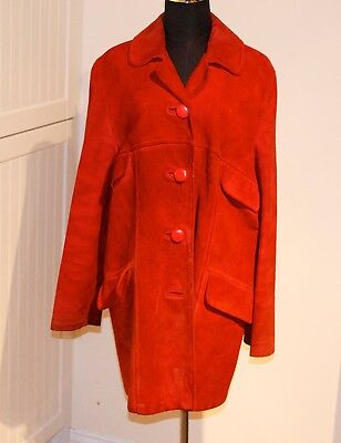 Vintage Paul Blanche Ladies Red Suede Coat 1960's 70's Size 12