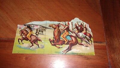 """Late 1800's Lion Coffee Trade Card - """"Indians on the War Path"""""""