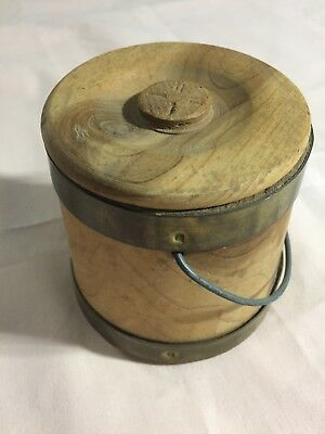 "Vintage Wooden Bucket With Lid Small (Approx 3 1/2' x 3 3/4"")"