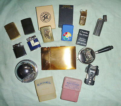 Vintage Lot of 12 Cigarette Lighters icluding Zippo + 1 Ash Tray + 2 Cases