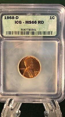 1968-D ICG MS66 RED Lincoln Memorial Cent Penny