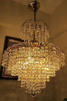 Antique Vnt French Waterfall Style Swarovski cut Crystal Chandelier  1960's 17in