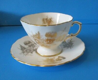 Hammersley & Co  Cup & Saucer White With Gold Thistles Excellent Condition