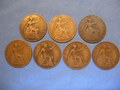 Lot of 7 English Large Pennies From 1908 to 1920