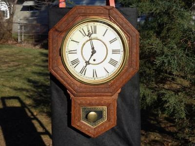 Antique Sessions Raised Oak Trim Wall Office School Clock Original Finish Runs