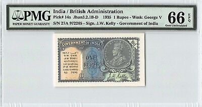 India / British 1935 P-14a PMG Gem UNC 66 EPQ 1 Rupee
